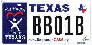 Texas CASA license plate